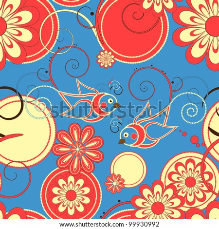 Flower and birds seamless background - stock vector
