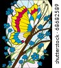 Flower and butterfly stained-glass vector eps10 background - stock vector