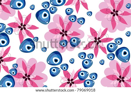 flower and evil eye - stock vector