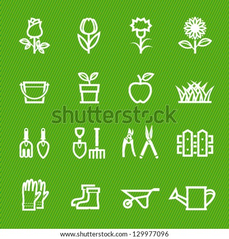Flower and Gardening Tools Icons with Green Background - stock vector