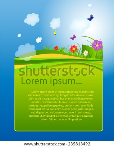 Flower and grass banner. vector illustration - stock vector