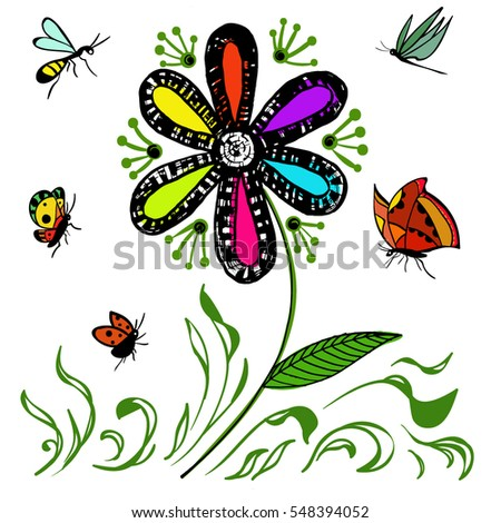 Flower and insect. Vector illustration
