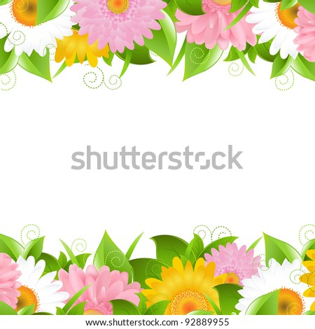 Flower And Leaves Border, Vector Illustration - stock vector