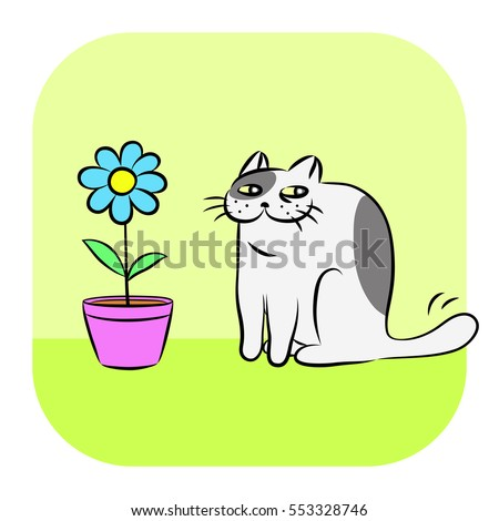 Flower and tomcat. Funny cool cartoon fur character. Contour digital drawing cute cat. Green color background. Cheerful pet for graphic design, web icons and shirt. Isolated vector illustration.