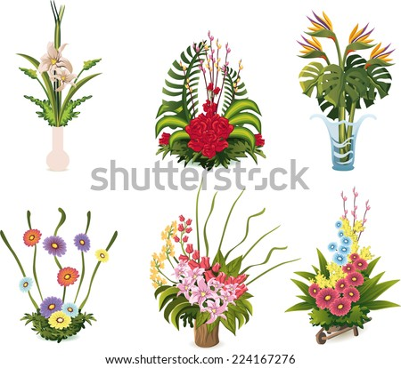 Flower arrangements cartoon illustrations to celebrate special occasion - stock vector