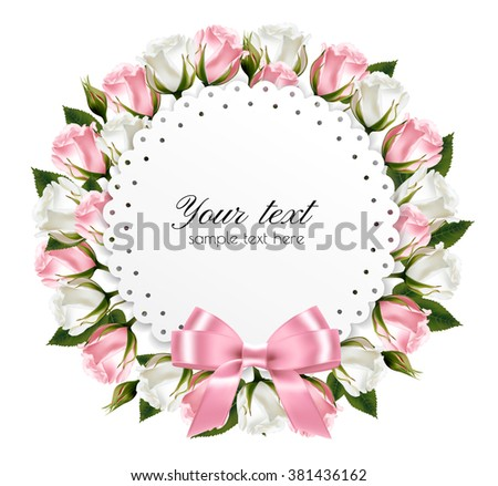 Flower background made out of pink and white flowers with a pink ribbon. Vector.  - stock vector