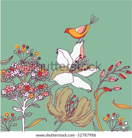 flower background with bird - stock vector