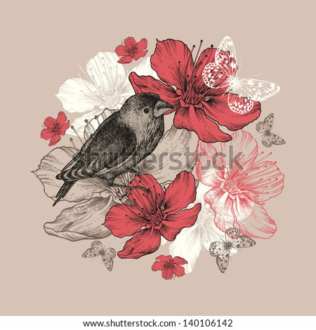 Flower background with bird, butterfly and flowering apple trees. - stock vector