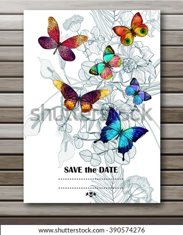 Flower background with butterflies. Vector illustration, EPS10. - stock vector