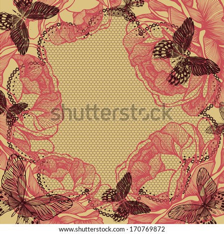 Flower background with lace, roses and butterflies. Vector illustration. - stock vector
