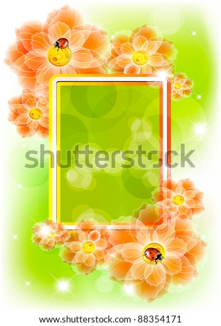 Flower background with ladybird and a place for the text