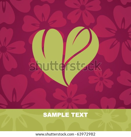 Flower background with stylized heart - stock vector