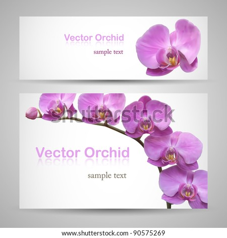 Flower banner vector backgrounds. Orchid delicate paper cards - stock vector