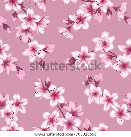 Flower Bloom, Japanese Cherry Blossom Vector Seamless Pattern. Pink Cherry  Flowers Textile, Spring