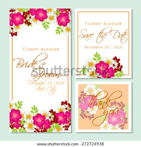 Flower blossom wedding invitation cards floral stock vector flower blossom wedding invitation cards with floral elements flower vector background stopboris Image collections