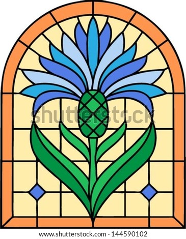 Flower blue cornflower (Centaurea cyanus).  Vector illustration in Stained glass window - stock vector