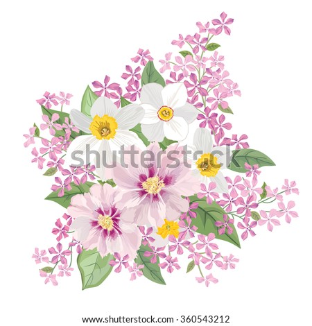 Flower bouquet. Floral frame. Flourish greeting card. Blooming flowers isolated on white background - stock vector