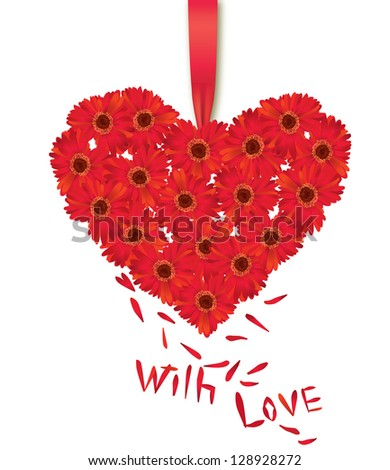 Flower bouquet isolated. St. Valentin's day gift. Floral  Love Heart Greeting card with ribbon and copyspace. - stock vector