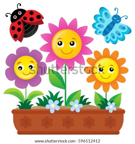 Flower box theme image 1 - eps10 vector illustration.
