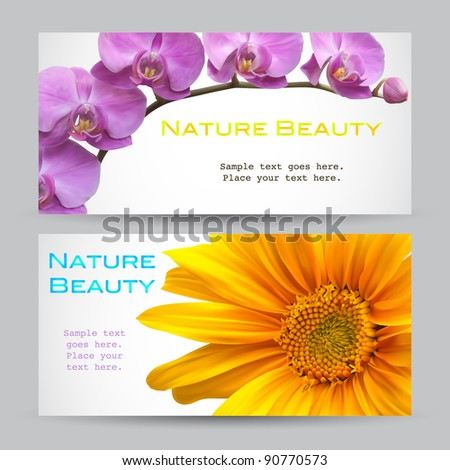 Flower brochure vector designs - stock vector