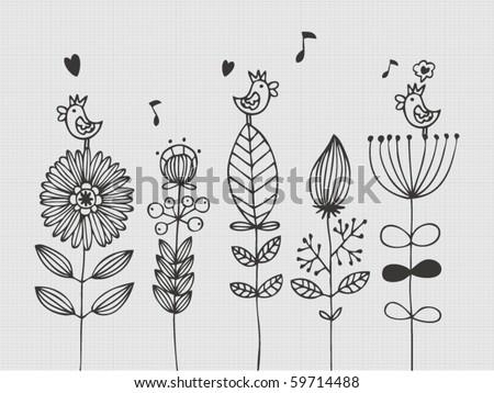 flower card - stock vector