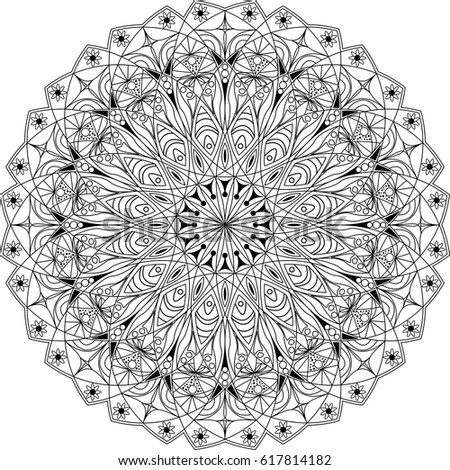 Flower Circle Mandala Coloring Page