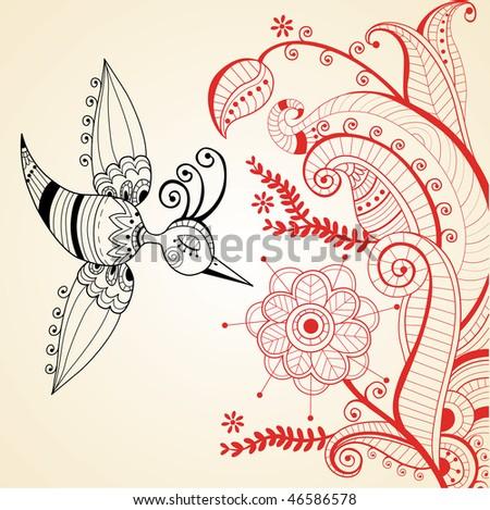 flower decoration whit bird illustration - stock vector