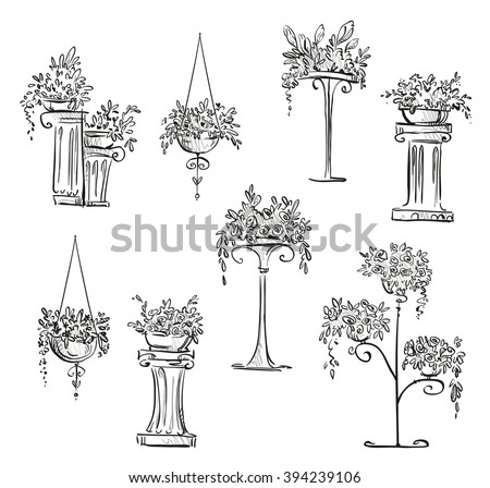 Flower decorations. Vector sketch - stock vector