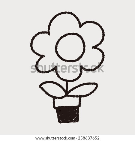 flower doodle drawing - stock vector