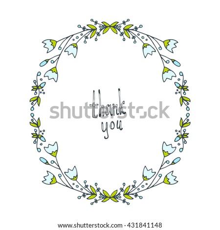 flower doodle frame line vector illustration hand drawn circle frame card poster