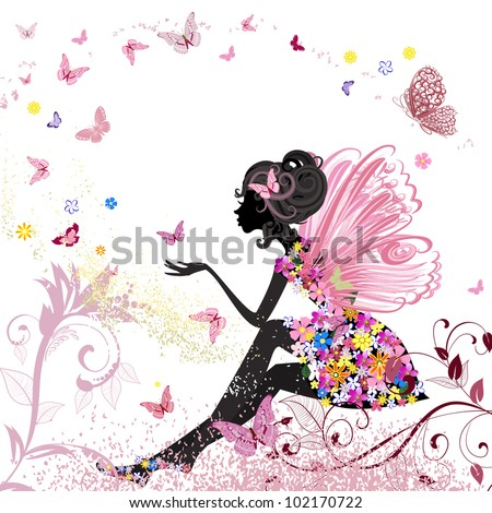 Flower Fairy in the environment of butterflies - stock vector