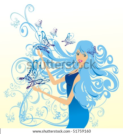 flower fairy with butterflies, vector illustration - stock vector