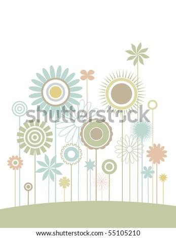 Flower field - stock vector