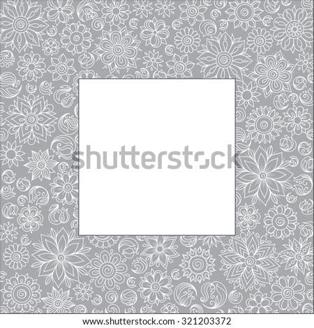 Flower frame. Ethnic, floral, retro, doodle, vector, tribal design element. Black and white background. Doodle vector background. Henna paisley mehndi doodles design tribal design element - stock vector
