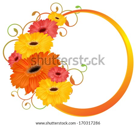 Flower frame. Flower borders. Bouquet gerbera isolated.  - stock vector