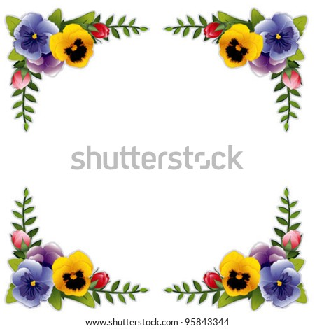 flower frame garden pansies roses victorian style background copy space traditional