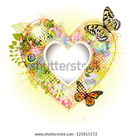 Flower frame in the shape of a heart with butterflies. vector