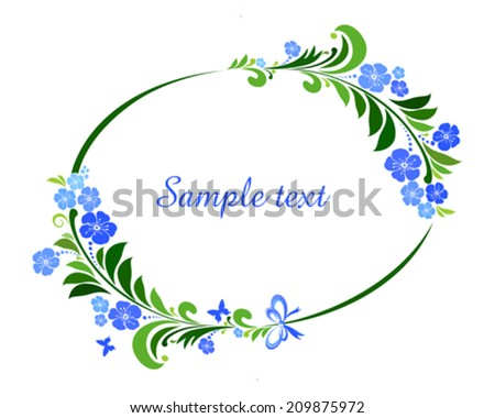 Flower frame isolated on White background. Element for design. Vector illustration  - stock vector