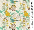 flower garden with bird. seamless pattern - stock vector
