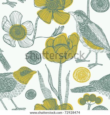 Flower garden with bird. seamless pattern - stock vector