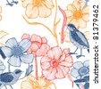 Flower garden with birds. seamless pattern - stock vector