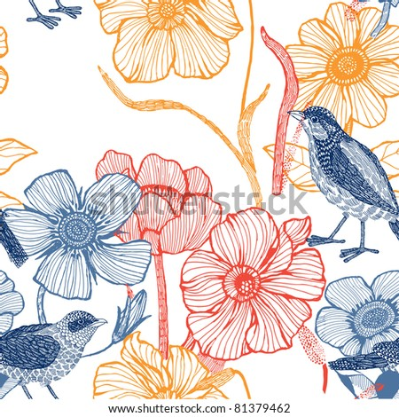 Flower garden with birds. seamless pattern - stock vector