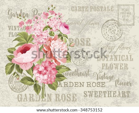 Flower garland for invitation card. Card template with blooming flowers and custom text. Vintage postcard background vector template for decoration. Vector illustration.