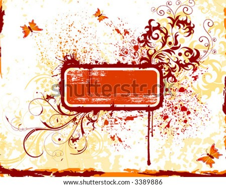 Flower grunge paint frame with butterfly, element for design, vector illustration