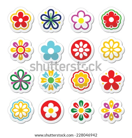 Flower head vector icons set - stock vector