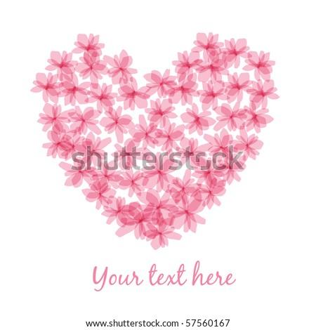 flower heart card - stock vector