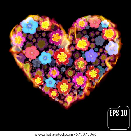 Flower heart in fire isolated on black background. Fire heart with flowers. 3d effect. Vector illustration