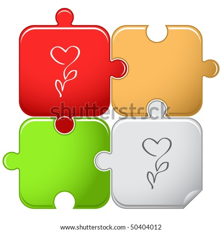Flower-heart. Vector puzzle. - stock vector