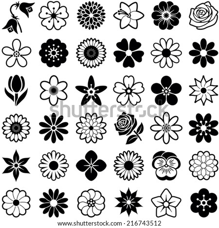Flower icon collection - vector illustration  - stock vector