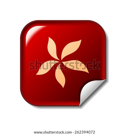 Flower icon on red sticker - stock vector